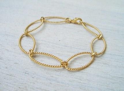 Oval Link Bracelet in Matte Gold