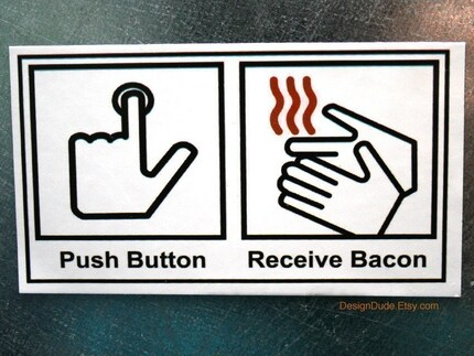Push Button Receive Bacon Magnet WITH FREE SHIPPING SALE