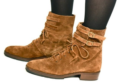 VTG 80's Italian Suede DOUBLE BUCKLE Lace Up Oxford Ankle Boots 9