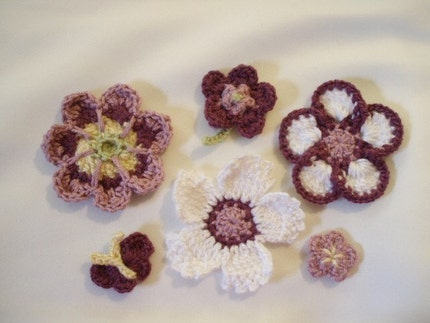 Crochet flower embellishments for applique SET of 6