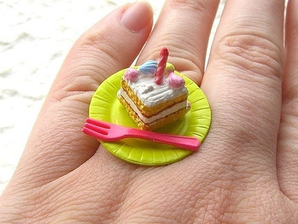 Kawaii Japanese Ring -Birthday Cake