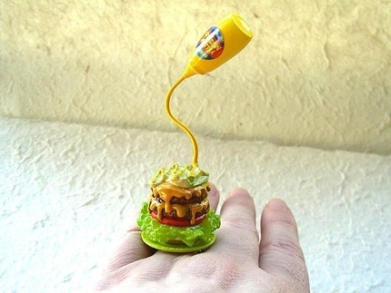 Kawaii Cute Japanese Floating Ring - Hamburger With Mustard