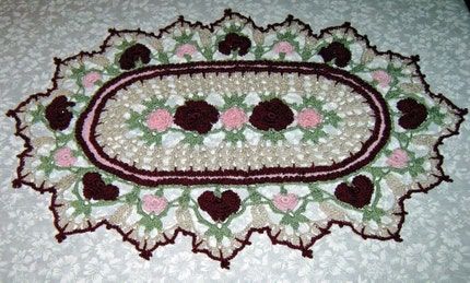 Crochet Doily, Rose Parade, with roses and carnations