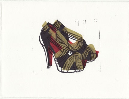 Christian Louboutin Josefa shoes linocut block print