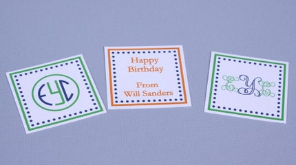Monogrammed Square Gift Tags - Set of 12 - Circle