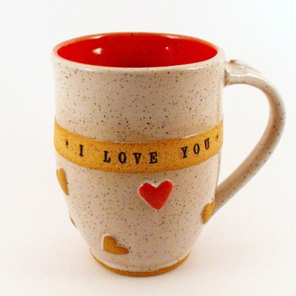 I LOVE YOU  Mug,  Wheel Thrown, IN STOCK,  ships in 1-2 days