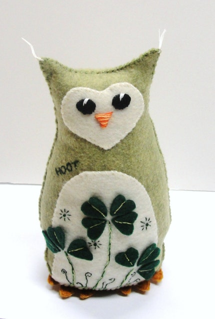 HOOT 8 in. tall stuffed owl in mossy green with shamrocks