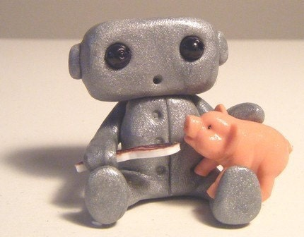 robot, toy, handmade, bacon, pig
