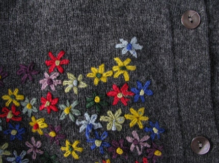 Grey Wool Cardigan Sweater with Stitched Colored Flowers