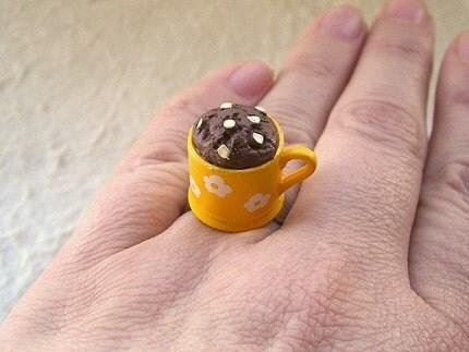 Kawaii Cute Japanese Ring - Muffin In A Mug Yellow