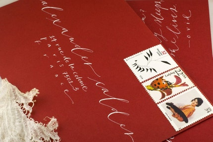146 - Blushing (Calligraphed valentine with vintage postage)