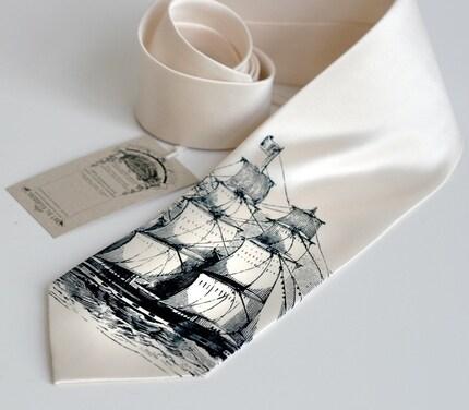 Clipper ship screen printed necktie, navy ink on cream tie