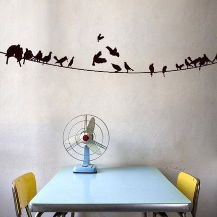 Birds on a Powerline - Wall Decal -