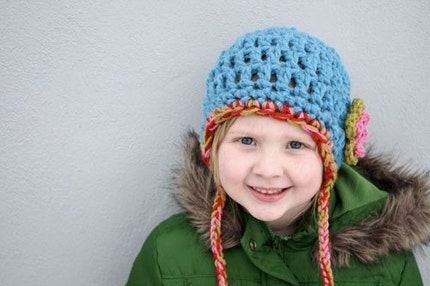 Child Size Chunky Blue Earflap Hat