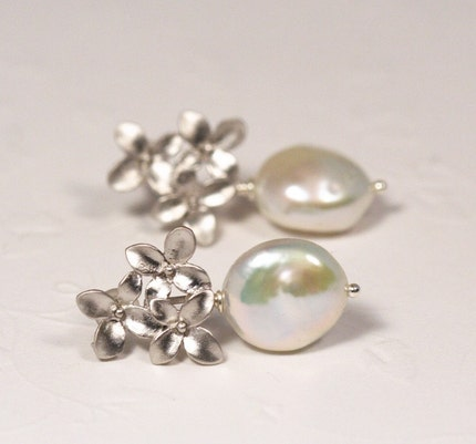 Ivory Pearl and Silver Bouquet Post Earrings