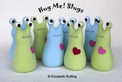 Name your own slug, Hug Me Slug, Original One-of-a-kind Art Toy by Elizabeth Ruffing, Small Sized, Fleece, Custom-made