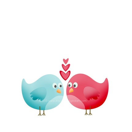 CLIP ART - Valentine love birds Blue and Red  PNG (Set 1)