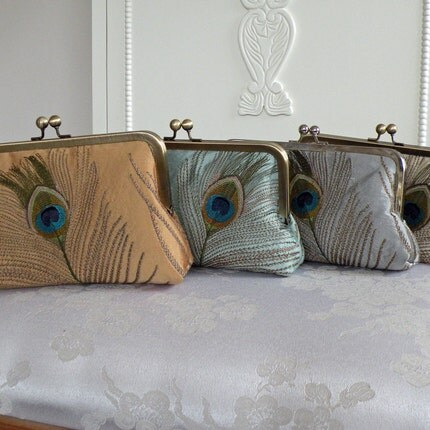 Silk Dupioni Luxury Clutch / Embroidered Peacock Feather / set of 4