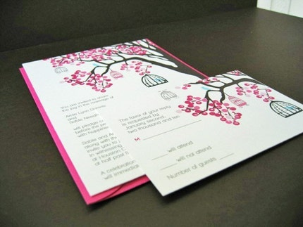 Beautiful Birds in Bloom - wedding invitation sample set