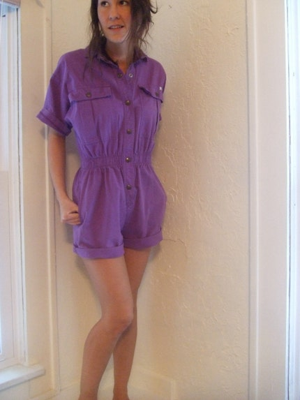 1980s bright purple snap button down very cool women's JUMPER with elastic waist