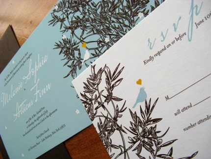 Love Birds in a Tree Tea length Invitation Set - Turquoise and Brown