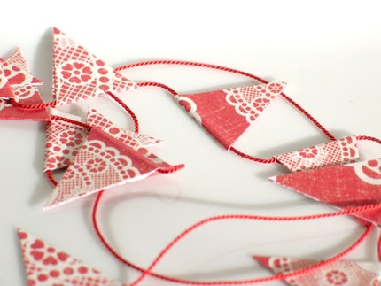 tiny flag banner - red doily