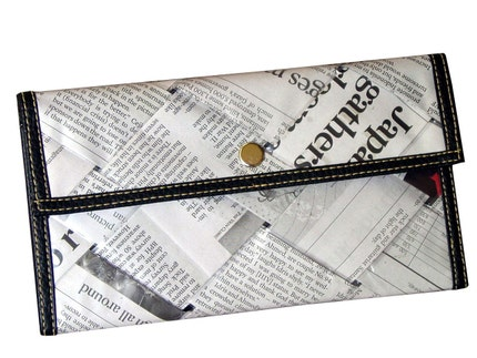 Recycled newspaper snap wallet