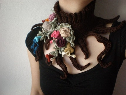 Elan - Spring Bloom ... Knitted Neckwarmer / Scarflette - Chocolate Brown - Colorful Flowers