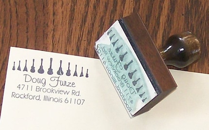 Custom Guitar Return Address Rubber Stamp with Your Name or Message AD10