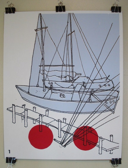 16 x 20 inches - Down By The Seaside - Screen Printed Art Poster