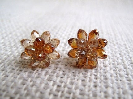 Swarovski Briolette Flower Ear Studs  choice of by PixieMarket from etsy.com