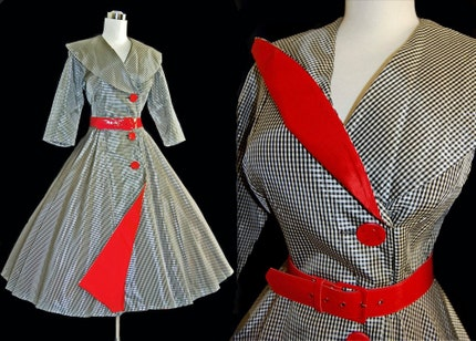 Vintage 50's Taffeta Evening Dress, Black and White Check with Lipstick Red Accents
