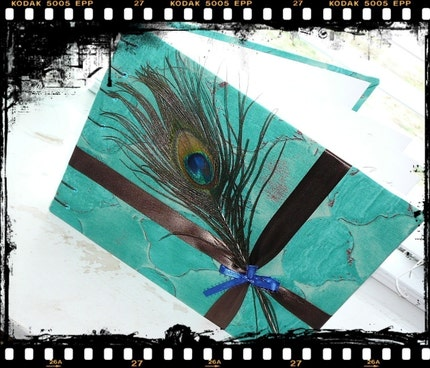 Peacock Feather Guest Book Custom and Personalized
