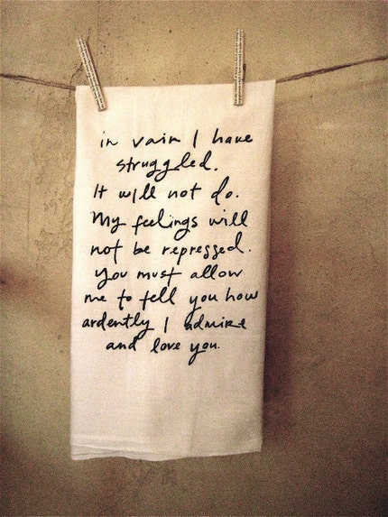 Mr. Darcy Proposal Dish Towel