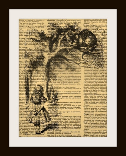 ALICE IN WONDERLAND CHESHIRE CAT IN TREE Print on Vintage Dictionary Page FREE SHIPPING WORLDWIDE