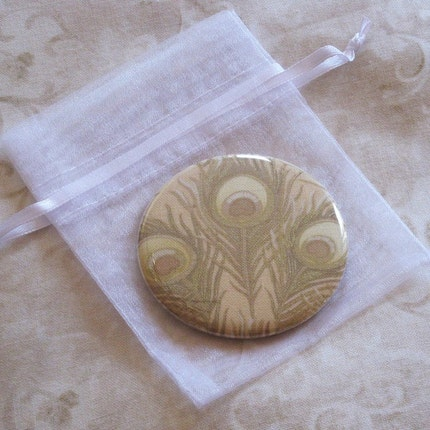pocket mirror blonde peacock feather fabric covered pocket mirror