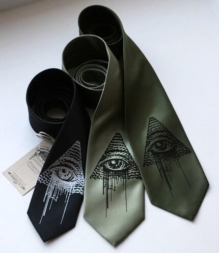 All-Seeing Eye, new world order screenprinted necktie