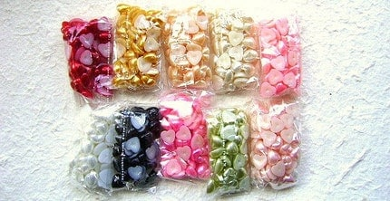 Flat Back Pearl Heart  Cabochons 10 Colors 8mm 500 Pieces  Wholesale
