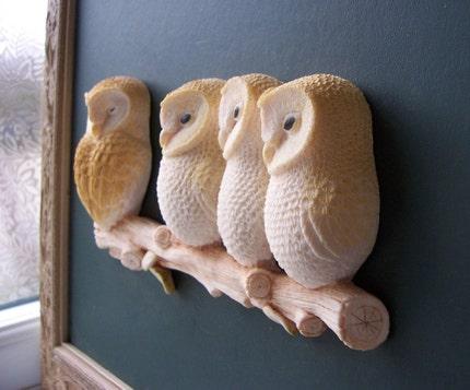Fantastic 3D Owl Family Portrait Wall Hanging Sculpture - Simon Harris - UK - EnglishPreserves