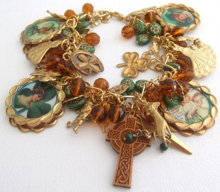 Altered Art Double Sided Celtic Irish Charm Bracelet <span class=