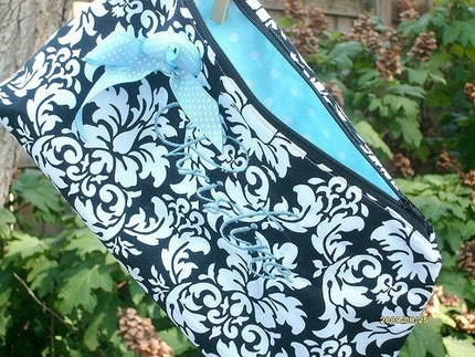 Cosmetic clutch, monogram included, Bridesmaid, you choose  from over 200 fabrics