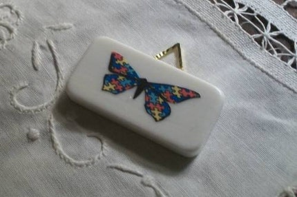 Autism Awareness Pendant Repurposed Domino