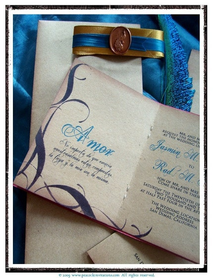 GENEVIEVE Coral Red Vintage Gold and Peacock Blue Travel Themed Passport Wedding Invitations