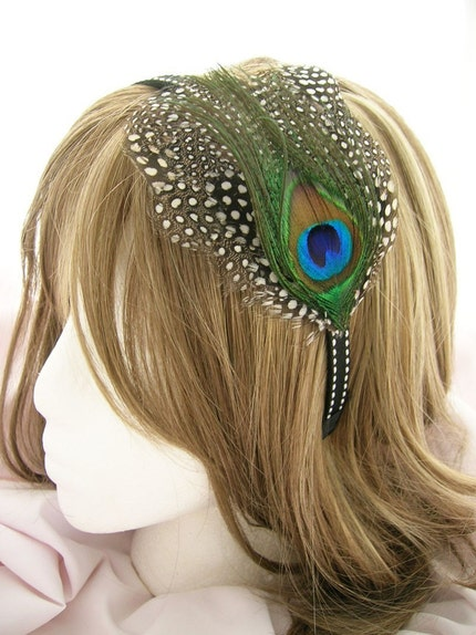 Nailah - Royal peacock eye layered on a spotted pattern feather pad - fascinator headdress headband, comb, elastic band, or  hair clip your choice