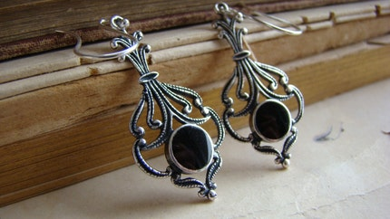 Drops of Darkness - Silver and Black Onyx Dangle Earrings