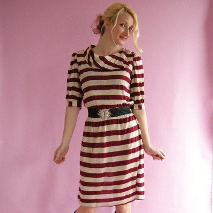 BURGUNDY Stripes Vintage 80s New Wave Day Dress M by empressjade