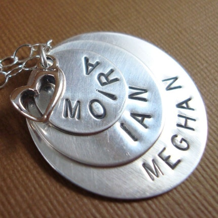 Hand Stamped Necklace with Personalized Layered Discs