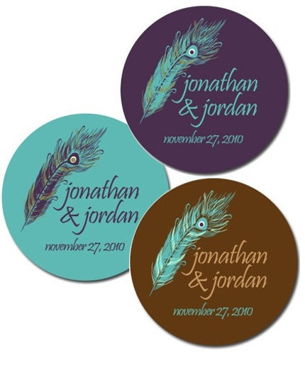 Set of Custom Wedding Stickers - PEACOCK FEATHER