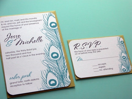 SAMPLE-Peacock Feathers Wedding Invitation and RSVP set-teal, chartreuse and chocolate