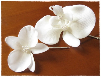 Small Orchid Wedding Hair Pin